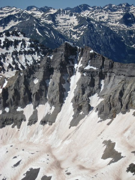 Gilpin's North face from Mt. Sneffels, last weekend of June 2014.  North Couloir is the obvious snow climb splitting the peak.