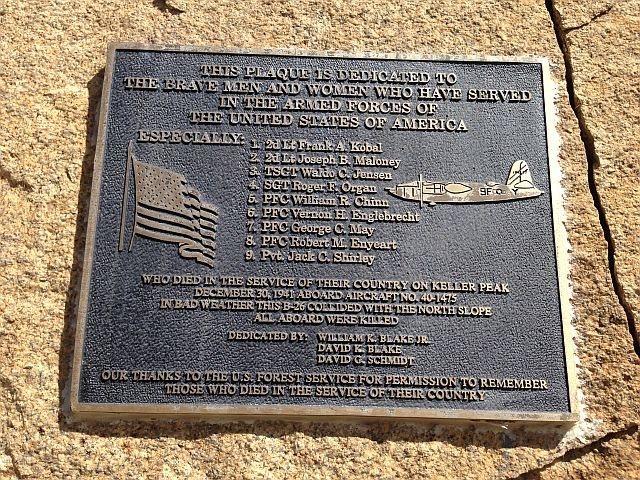 Close-up of B-26 crash memorial plaque near the summit, Keller Peak