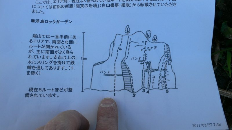 Japanese topo. The finger marks the spot.