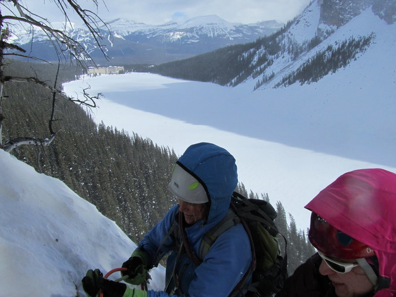 Rock Climbing Photo: Mary Beth and Amy setting up the second rappel.