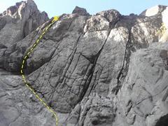Rock Climbing Photo: Climb left under the overhang then head stright up...