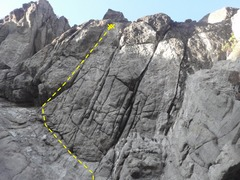 Rock Climbing Photo: Follow 2 bolts on the overhanging face to the midd...