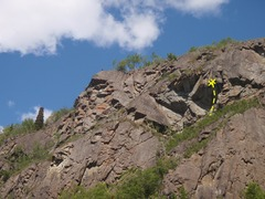Rock Climbing Photo: Freedom Fighter is the right most climb on this se...