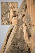 Rock Climbing Photo: The flake that I highlight in my inset is super ho...