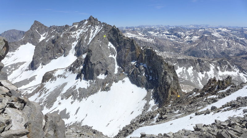 another view of the descent (chartreuse dot marks the top of the N slab descent, the orange dot is the top of Agassiz Col)