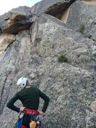 Rock Climbing Photo: Scoping out the 5.9 finish. We turned the triangle...