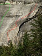 Rock Climbing Photo: Top of Deflector - route is red, bolted belays are...