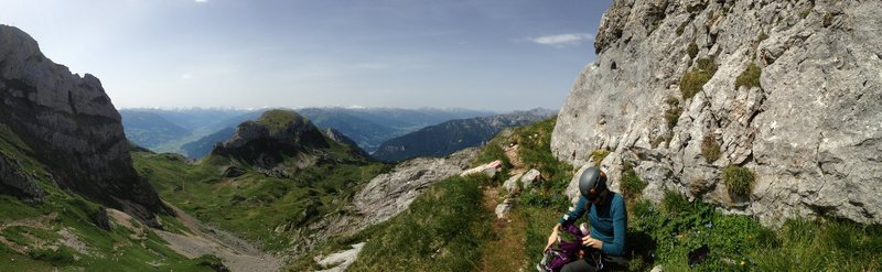 Trail at the start of the via ferrata.  Rosskopf is on the far left side of the photo.  Prominent trail in the center of the photo leads to Spieljoch.