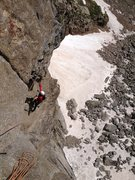 Rock Climbing Photo: Brent Butler following the second crux pitch.