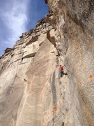 Rock Climbing Photo: Brent Butler leading the 10c pitch before the crux...