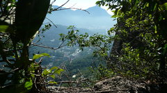Rock Climbing Photo: The only shade on the route. You can see Corcovado...