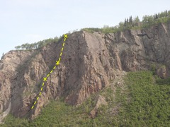 Rock Climbing Photo: Gray Mountain Sky is located 250' left of the appr...