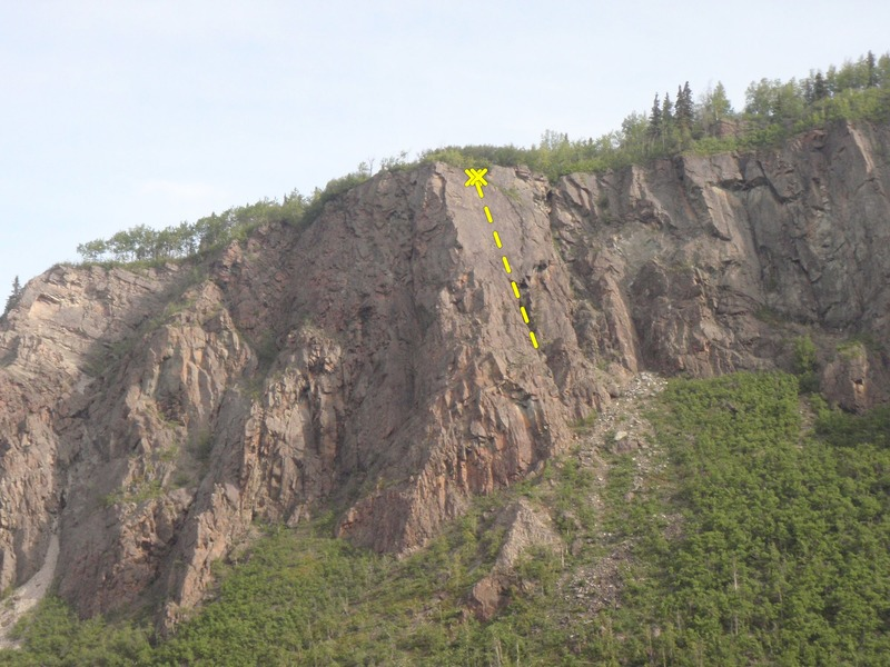 This amazing trad/sport route climbs great rock left of the large spruce tree.