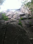 Rock Climbing Photo: Rusticator is the left crack, Pressure Drop is the...