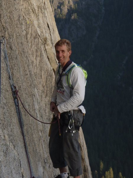 Rock Climbing Photo: Brian Delaney on the Mammoth Ledges after Freeblas...
