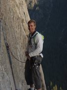 Brian Delaney on the Mammoth Ledges after Freeblast, El Cap