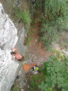 Rock Climbing Photo: Jessica on Glen's Roof, 5.10a. Photo by Andrew Geo...