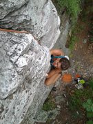 Rock Climbing Photo: Jessica now on the arete immediately after pulling...