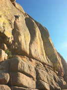 Rock Climbing Photo: My first lead attempt. This thing is hard.   Photo...