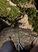 Rock Climbing Photo: leading the final pitch