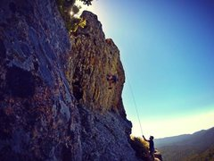 Rock Climbing Photo: Top roping the west face of Mt. Doom