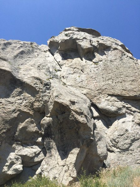 Rock Climbing Photo: Giant Flake, to crack, to chiminey. Wear a shirt a...