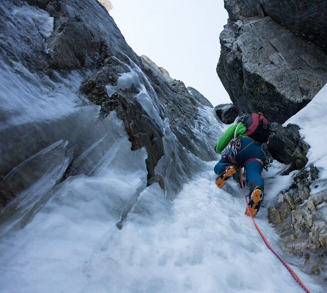 The ice crux on the BIC, about 60 meters below the top of the route.  7/5/2014<br> Photo by Andrew Wike