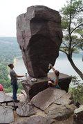 Rock Climbing Photo: Gokul & Angie cleaning up graffiti