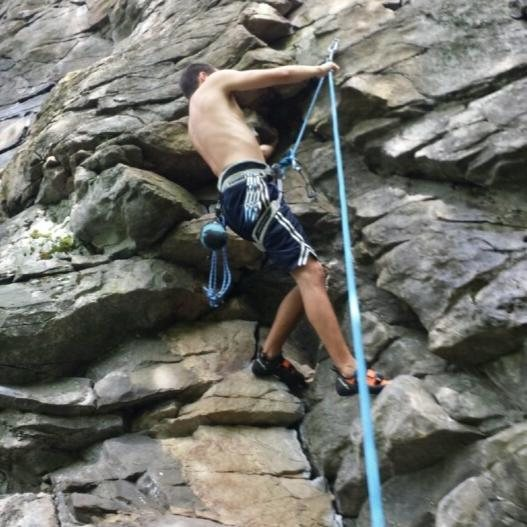 Leading a route on Upper Vader at Rumney