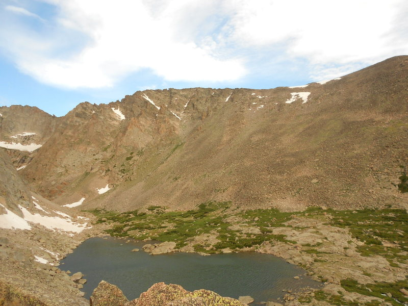 Solitude Lake.<br> <br> The Northeast Ridge is in the upper left of photo.