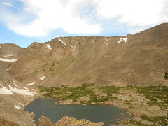 Rock Climbing Photo: Solitude Lake.  The Northeast Ridge is in the uppe...