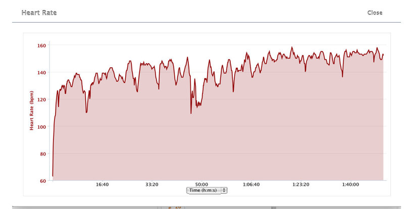 Heart rates during steady hill climb. 3000 feet gained, in 4.8 miles (1 hr, 50 min).