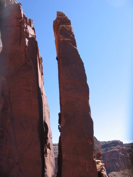 Climbers at P1 belay and P2 belay. April 2004 ascent.