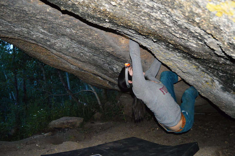 Rock Climbing Photo: Working on Beer Crack at twilight.