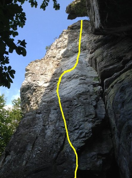 Rock Climbing Photo: Beta Photo with Indian Head roof looming overtop.