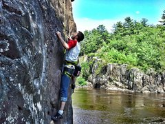 Rock Climbing Photo: Taylor's first day of outdoor climbing in MN; half...