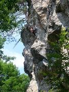 Rock Climbing Photo: Alexandre Rivest high on Weevil Knevil