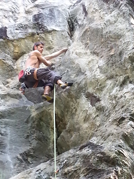Rock Climbing Photo: Levy Desmarais in a 5.10b just like the old days.....