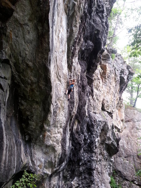 Mag onsighting the 12b section of the climb. She later falls on the first draw of the 11c section. Good job Mag!!!