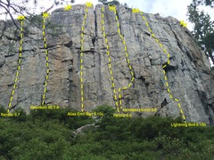 Rock Climbing Photo: A few of the routes on 90 Foot Wall