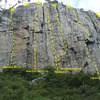 A few of the routes on 90 Foot Wall