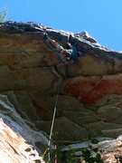 Rock Climbing Photo: Simon on Stannard's Roof