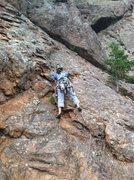 Rock Climbing Photo: Laura leading Men Arete.