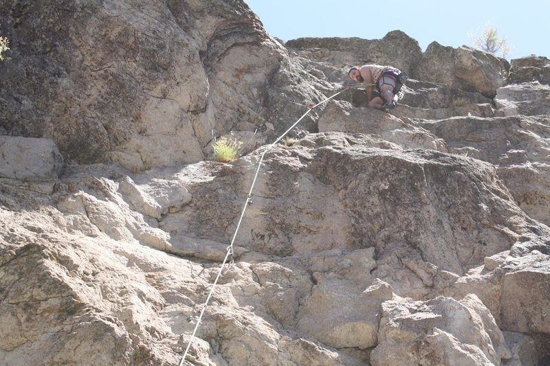 Rock Climbing Photo: At the last clip before the anchor on Swallowed 5....