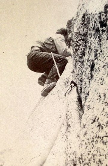 John Mendenhall on Fingertip Traverse (5.3), Tahquitz Rock<br> <br> Photo: Ruth Mendenhall (1939)