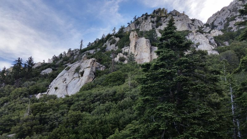 These crags have some fine climbing. New guide has partial info. Maybe we can keep it that way. Cool approach from the north side trail to tahquitz.