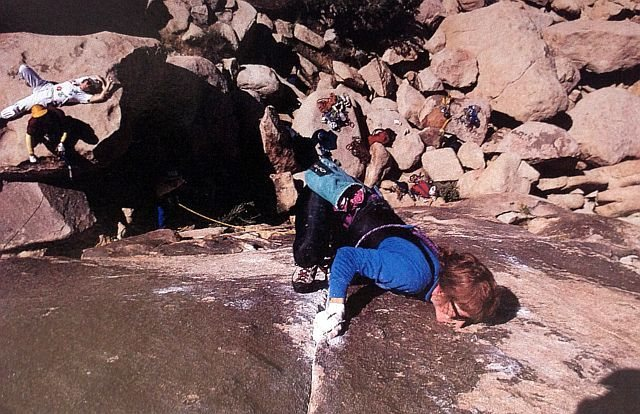 Theresa Rutherford on A Woman's Work is Never Done (5.10c), Joshua Tree NP<br> <br> Photo by Jim Erb