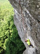 Rock Climbing Photo: Dennis in the big undercling beneath the first roo...
