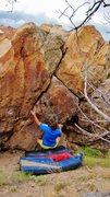Rock Climbing Photo: Start beta of Salud Southwest.