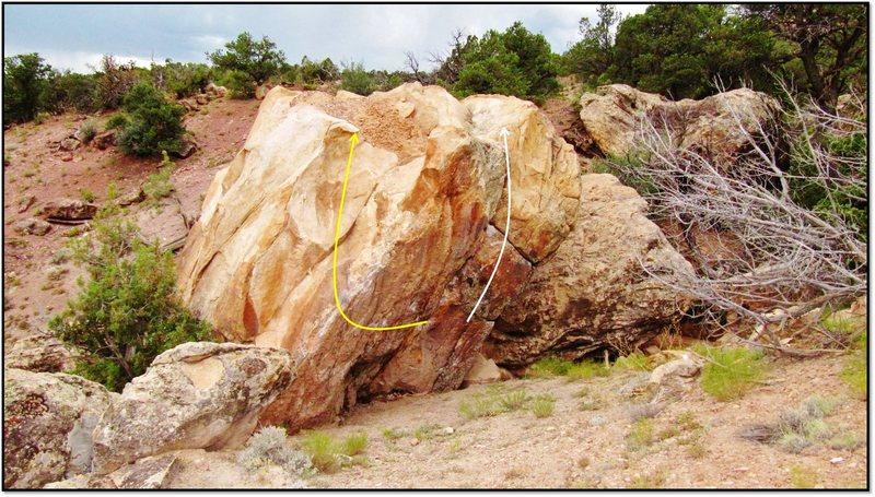 Rock Climbing Photo: Salud Southwest problem beta in white.